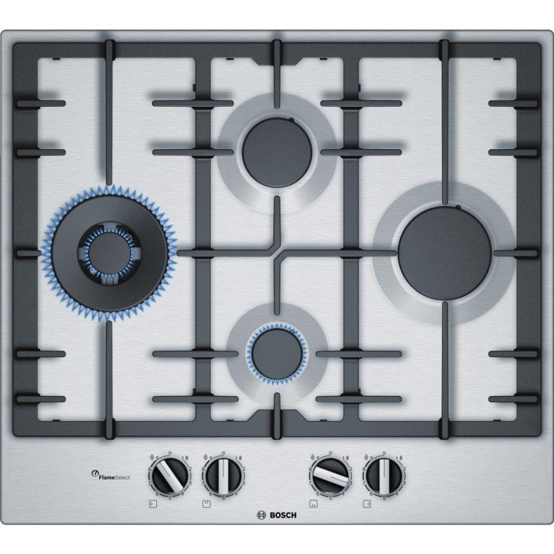 Plita incorporabila Bosch PCI6A5B90, gas, 4 arzatoare, Arzator WOK, Gratare fonta, Inox