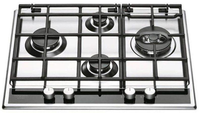 Plita incorporabila Hotpoint PKL 641 D2 IX HA EE, Gaz, 4 Arzatoare, Arzator wok, Gratare din fonta, Aprindere electrica integrata, Inox